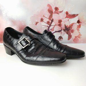 Paul Fredrick Single Monk Strap Croc Embossed Shoe